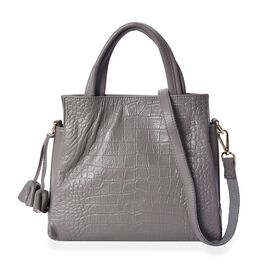 100% Genuine Leather Croc Embossed Tote Bag with Detachable Shoulder Strap (Size 28x25x11 Cm) - Dark