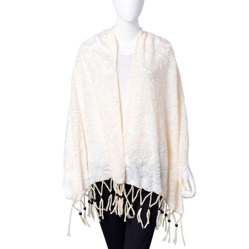 Designer Inspired - Cream Colour Rose Pattern Velvet Wrap with Wooden Beads Adorned Tassels (Size 160X50 Cm)
