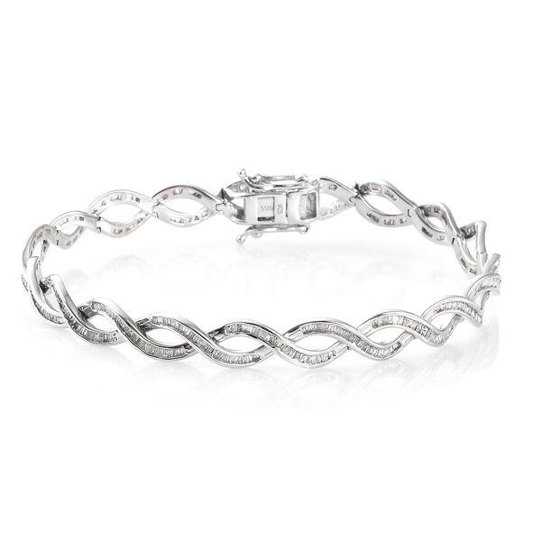 2 Carat Diamond Bracelet In Platinum Plated Silver, 13.88 Grams