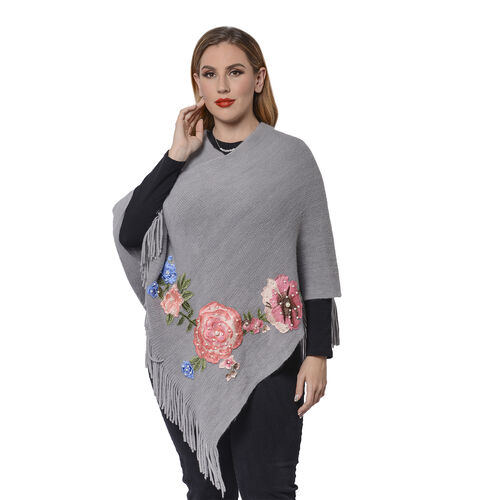 Grey Poncho with Rose Embroidery and Fringe Hem (Size 90x85+10cm)