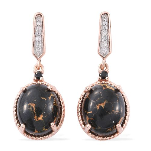 Arizona Mojave Black Turquoise (Ovl), Natural Cambodian Zircon and Boi Ploi Black Spinel Earrings (with Push Back) in Rose Gold Overlay Sterling Silver 9.500 Ct.
