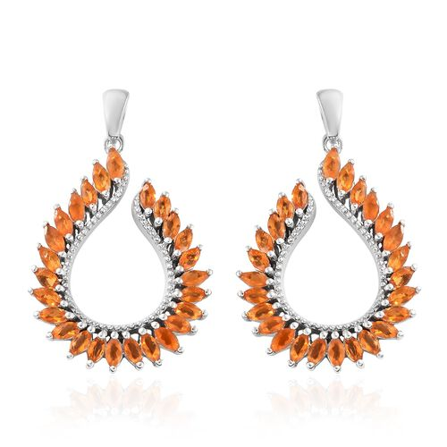 Jalisco Fire Opal (Mrq) Earrings (with Push Back) in Platinum Overlay Sterling Silver 2.250 Ct, Silver wt 9.85 Gms.