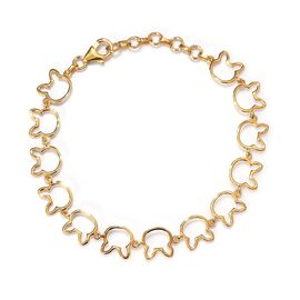 14K Gold Overlay Sterling Silver Bunny Link Bracelet (Size 6.5 with 1 inch Extender), Silver wt 4.91