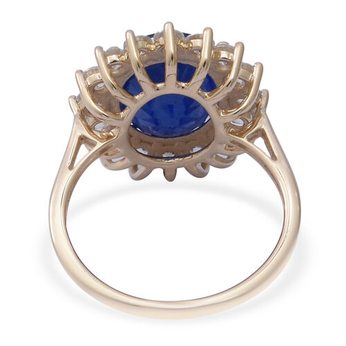 Collectors Edition- 9K Yellow Gold AAA Tanzanian Blue Spinel and Natural Cambodian Zircon Ring 6.97 Ct.