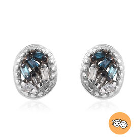 Blue and White Diamond Kids Earrings in Sterling Silver