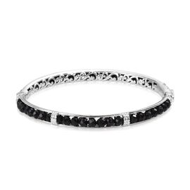 Boi Ploi Black Spinel Bangle (Size 7) in Platinum Plated 24.00 Ct.