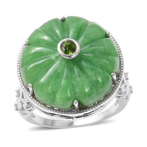 29.25 Ct Carved Green Jade Openable Floral Ring in Sterling Silver 8 Grams
