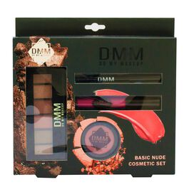 DMM Cosmetics Basic Nude Kit Include Lip gloss, Eyeshadow Palette, Eyeliner and Blusher