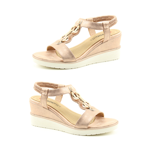 Heavenly Feet Milena Rose Gold Wedge Sandals with Elastic Ankle Strap (Size 3)