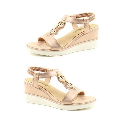 Heavenly Feet Milena Rose Gold Wedge Sandals with Elastic Ankle Strap (Size 7)