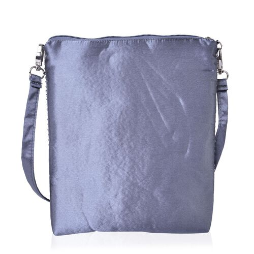 White Austrian Crystals Embellished Grey Colour Crossbody Bag (Size 26X22 Cm) with Removable Shoulder Strap