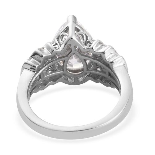 J Francis - Platinum Overlay Sterling Silver Ring Made with SWAROVSKI ZIRCONIA 6.55 Ct.