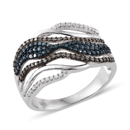0.76 Ct Blue Diamond and Multi Gemstone Criss Cross Ring in Platinum Plated Silver 5.70 grams