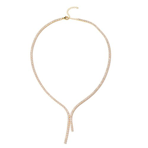 ELANZA AAA Cubic Zirconia (Rnd) Tennis Necklace (Size 18 with 2.5 inch Extender) in Gold Overlay Ste