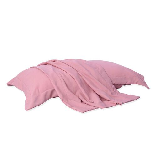 4 Piece Set, 2 Copper Infused Oxford Style Pillowcases and 2 Copper infused Eye Masks - Dusky Pink