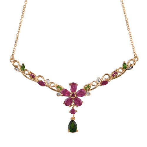 GP African and Burmese Ruby with Multi Gemstone Necklace in Gold Plated Sterling Silver 7.91 Grams