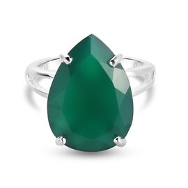 DOD- Verde Onyx Solitaire Ring in Sterling Silver 9.00 Cts