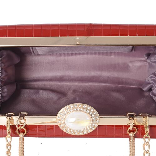 Boutique Collection High Glossed Vintage Style Red Colour Clutch Bag with Removable Chain Shoulder Strap (Size 17.5x12x4.5 Cm)