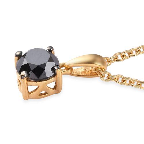 Black Diamond Pendant with Chain (Size 18) in 14K Gold Overlay Sterling Silver 1.00 Ct.