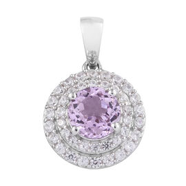 2.25 Ct Kunzite and Cambodian Zircon Halo Pendant in Platinum Plated Sterling Silver