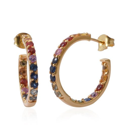 Designer Inspired- AA Rainbow Sapphire (Rnd) In Out Hoops Earrings (with Push Back) in 14K Gold Overlay Sterling Silver 3.000 Ct. Silver wt 5.35 Gms.