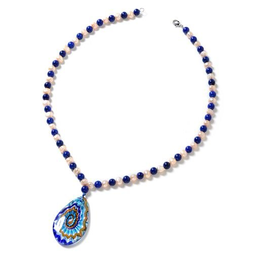 One Time Deal- Blue Murano Style Glass (Pear) Lapis Lazuli and Fresh Water Pearl Necklace (Size 24) 392.000 Ct.