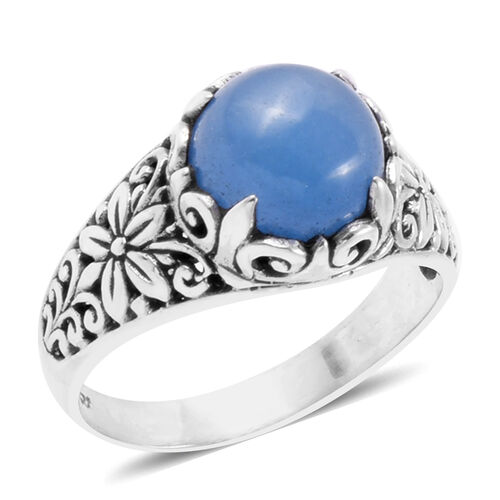 Royal Bali Collection - Blue Jade (Rnd) Filigree Ring in Sterling Silver 4.920 Ct