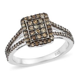 Natural Champagne Diamond (Rnd) Cluster Ring in Platinum Overlay Sterling Silver 0.500 Ct.