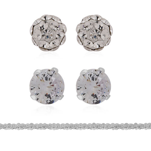 ELANZA 3 Piece Set - Simulated Diamond 2 Earrings and Chain in Sterling Silver