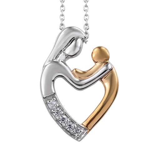 Natural Cambodian Zircon (Rnd) Mum and Child Love Pendant with Chain (Size 18) in Platinum and Gold