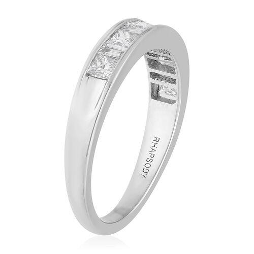 RHAPSODY 950 Platinum Certified Natural Diamond (VS/E-F) Half Eternity Band Ring 1.00 Ct, Platinum Wt. 6.00 Gms