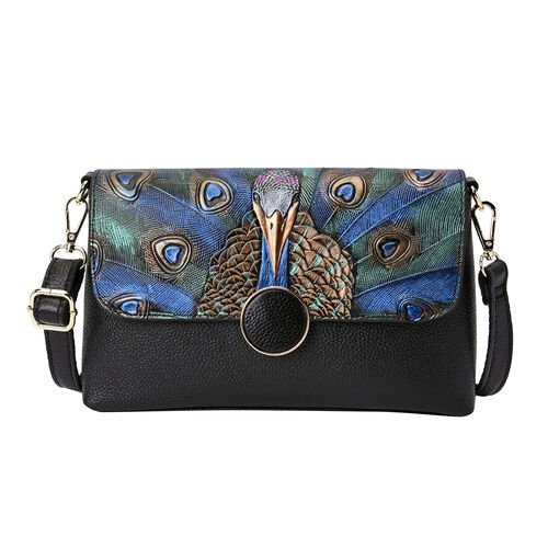 100% Genuine Leather Peacock Embossed Pattern Crossbody Bag (25x18x7cm) with Magnetic Closure in Bla