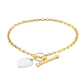 9K Yellow Gold Belcher Link with T-Bar Bracelet (Size 7 - 7.5)