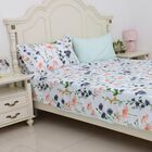 4 Piece Set - Mint Colour Floral Pattern Single Duvet Cover (Size 135x200 Cm), 2 Pillow Case (Size 2