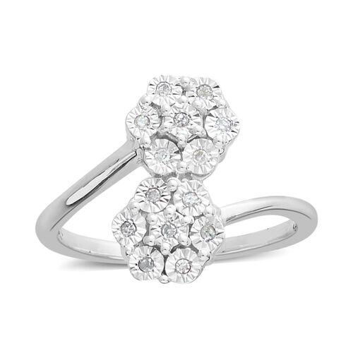 Diamond (Rnd) Flower Ring in Platinum Overlay Sterling Silver  0.100 Ct.