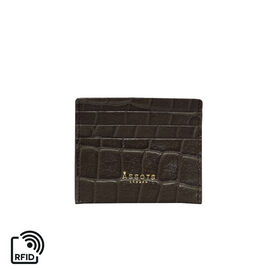 Assots London FANN Croc Embossed Leather RFID Credit Card Holder - Olive Green