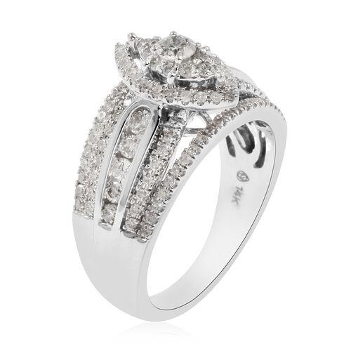 14K White Gold Diamond (I2/G-H) Ring 1.00 Ct, Gold wt. 7.90 Gms