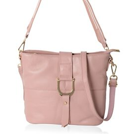 Super Soft 100% Genuine Leather Pink Colour Crossbody Bag with External Zipper Pocket (Size 29x25.5x23x13 Cm)