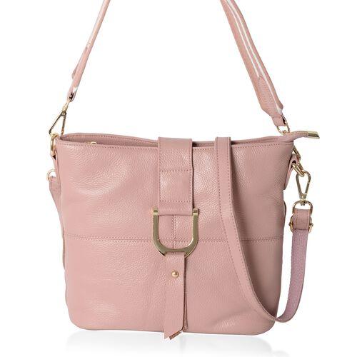 Super Soft 100% Genuine Leather Pink Colour Crossbody Bag with External Zipper Pocket (Size 29x25.5x23x13 Cm)