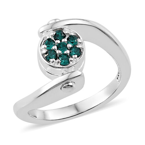 J Francis Crystal from Swarovski - AB Crystal (Rnd), Emerald Colour Crystal Reversible Ring in Sterl
