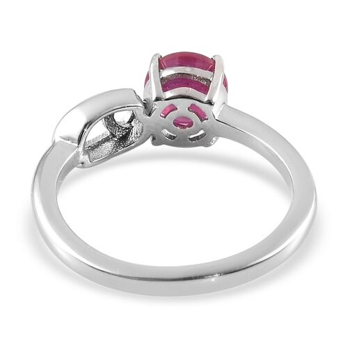 African Ruby Zodiac-Cancer Ring in Platinum Overlay Sterling Silver 1.15 Ct.