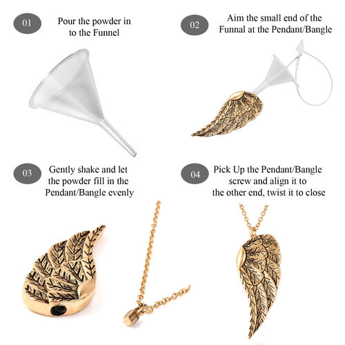 2 Piece Set - Angel Wing Memorial Pendant with Chain (Size 20) and Funnel with Needle in Yellow Gold Tone