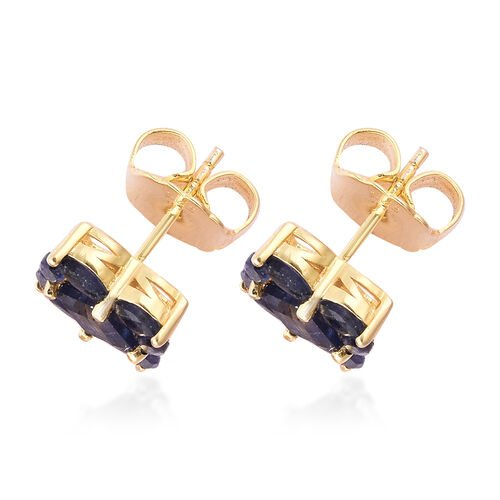 Isabella Liu Floral Collection - Masoala Sapphire Stud Earrings (with Push Back) in Yellow Gold Overlay Sterling Silver