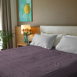 Close Out Deal- 100% Cotton Purple and Multi Colour Bed Cover (Size 250x230 Cm)