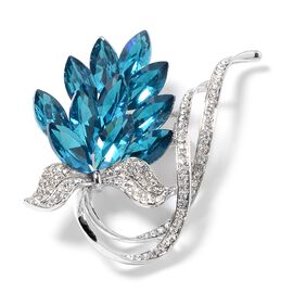 Simulated London Blue Topaz (Mrq), White Austrian Crystal Grape Bunch Brooch in Silver Tone