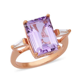 7.54 Ct Rose De France Amethyst and Zircon Solitaire Ring in Rose Gold Plated Silver