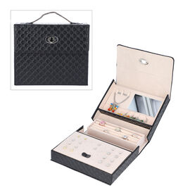 Embossed Quilted Pattern Handbag Style Anti-Tarnish Jewellery Organizer with Inside Mirror and Oval