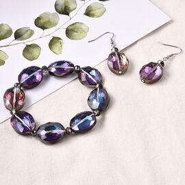 2 Piece Set - Simulated Mercury Mystic Topaz Beads Hook Earrings and Stretchable Bracelet (Size 7)