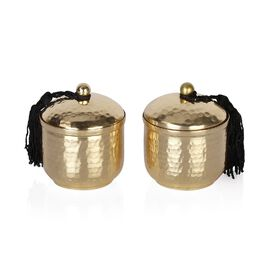 GOLD Set of 2 - Hammered Metal Candle Jar with Lid and Wax Inside (Size 6.8x6.8x8 Cm) - (Sandalwood