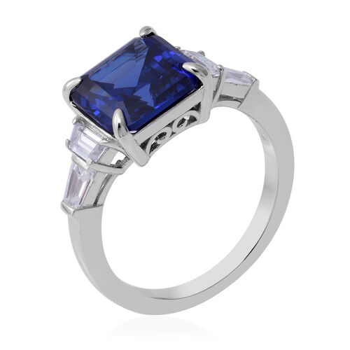 Signature Collection-Asscher Cut Cubic Zirconia Tanzanite (8.00 Ct) and Cubic Zirconia in Sterling Silver Ring 9.500  Ct.